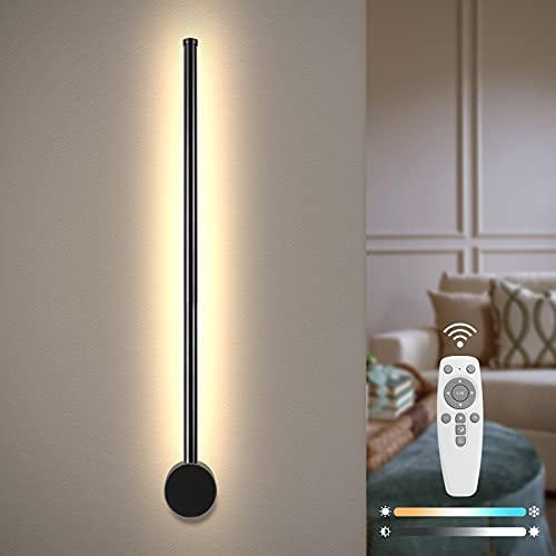 Temgin Apliques Pared Interior Regulable 60cm Giratorio 360° LED Lámpara de pared Control Remoto Ultradelgado Blanco cálido Modernos Luz Pared Negro para Sala de estar Escalera Pasillo Aluminio 7W