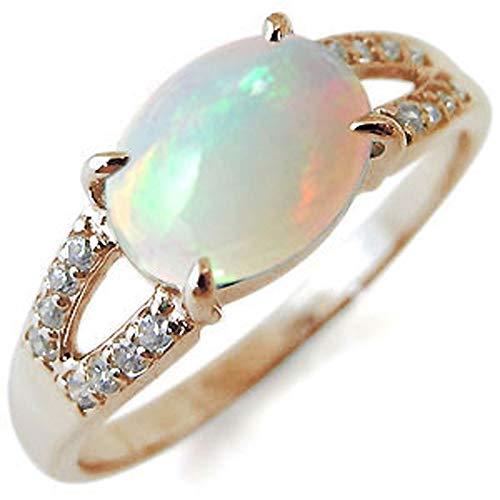 [プレジュール] レディース オパール リング 一粒 指輪 ピンクゴールド K18 18K 18金 指輪 大粒 リング リングサイズ14号