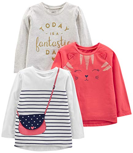 Simple Joys by Carter's Girls' Toddler 3-Pack Graphic Long-Sleeve Tees, Kitty/Glitter/Purse, 3T