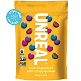 UNREAL Dark Chocolate Crispy Quinoa Gems | Non-GMO, Vegan Certified, Colors from Nature | 6 Bags