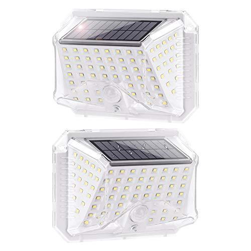 Luz solar exterior con sensor de movimiento PIR, luz blanca 6500K, 150 lumen, protección IP65. Uso como luz de seguridad, para pared, garaje etc (2 Paquete)