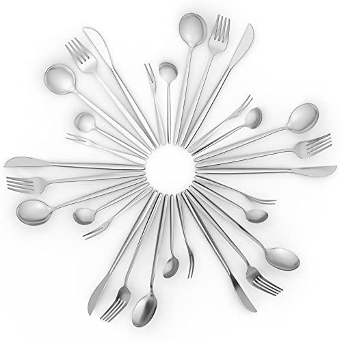 DAONG servizio posate 30 pezzi, elegante acciaio Set di posate inox servizio per 6 persone, accessori cucina coltelli cucchiai forchette cucchiaini caffè forchette torta , lavabile in lavastoviglie