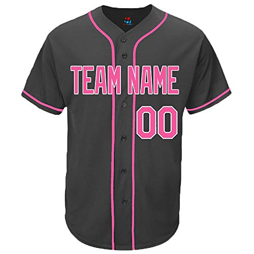 Pullonsy Black Custom Baseball Jersey for Women Full Button Mesh Embroidered Name & Numbers,Hot Pink,Size 2XL