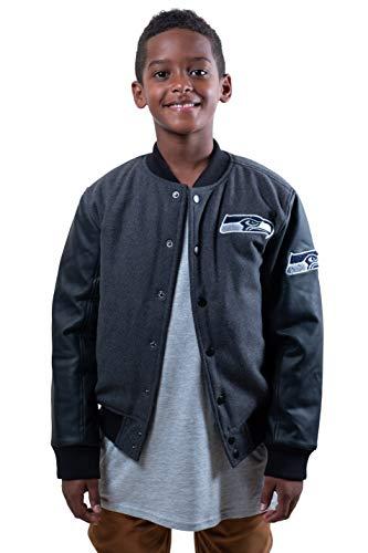 Ultra Game NFL Seattle Seahawks Youth Classic University Varsity Jacket, Charcoal Heather, 10/12>