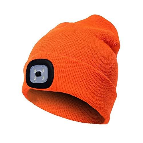 Taidallo Unisex Gefilzte Mütze mit LED-Beleuchtung, Herbst/Winter, warme Mütze, Outdoor-Taschenlampe, Lampe für Camping, Wandern, Wandern, Angeln, Laufen Orange