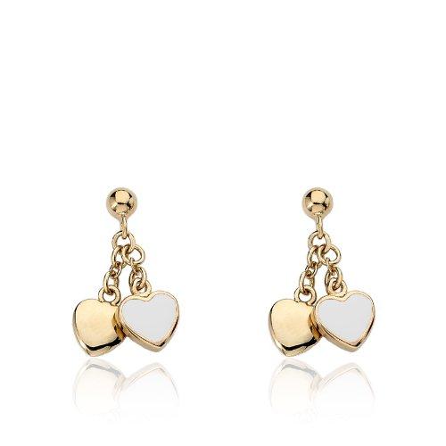 Little Miss Twin Stars Kids Earring - 14k Gold-Plated Double Dangle Earring - Surgical Steel Post For Sensitive Ears