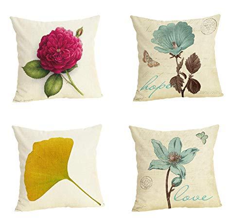 LYTFQ Funda Almohada Cojines Decorativos Funda De Cojín Flower Series para Sofa Jardin Cama Coche Decorativo 4 Piezas 45X45Cm