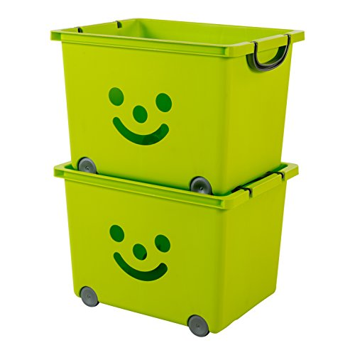 IRIS, 2er-Set Boxen 'Smiley Kids Boxes', KCB-43, Kunststoff, mit Rollen, pistaziengrün, 43,5 x 32,5 x 31,2 cm