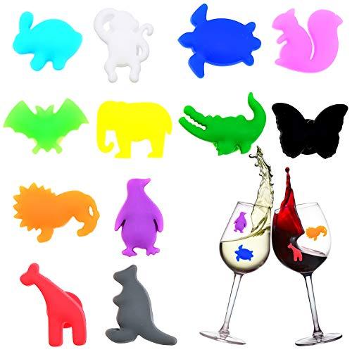 Cisolen 12 marcadores de copa de vino de silicona, reutilizables, para bar, fiesta, decoración de mesa, diferentes (forma de animal)