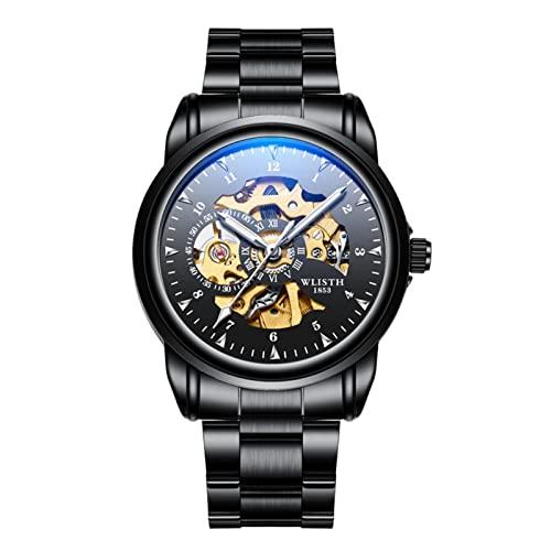 GDHJ Reloj mecánico casual para hombre de negocios | Blanco | Azul | Negro | Reloj de pulsera con esfera hueca 3ATM Pantalla luminosa impermeable Relojes de acero inoxidable negro (correa de acero)