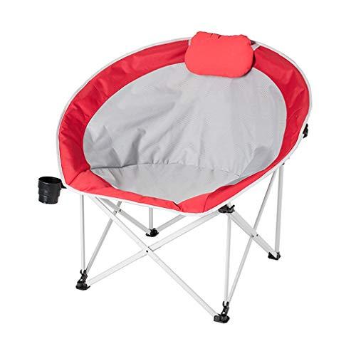 NEVY-Campingstühle Luxus Falten Im Freien Freizeit Tragbar Fischenstuhl Heavy Duty Mit Getränkehalter, 3 Farben (Farbe : Rot)