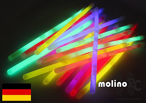 molinoRC 25x MEGA Knicklichter XXL Dream Glow, 250x10 mm LANG und HELL Leuchtstäbe 6 Farben Öse LANG, Knicklichter Leuchtstäbe Glowstick Partylichter | 📦 | 🇩🇪 | ✅ | 😊 |🥇