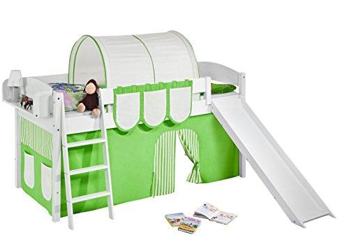Lilokids Spielbett IDA 4105 Grün Beige-Teilbares Systemhochbett weiß-mit Rutsche und Vorhang Kinderbett, Holz, 208 x 220 x 113 cm