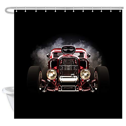 Steam Engine Old Car Shower Curtain, Vintage American Hot Rod Roadster with Smoke Background Race Fabric Shower Curtain Set with 12 Hooks Bathroom Curtain Waterproof Bath Curtains Curtain, 69x70inches