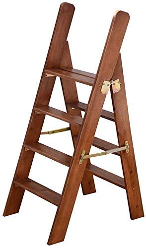 DQSM Multifuncional Escalera de Tijera Escalera Plegable de Madera Maciza 4 Pasos, Biblioteca de casa Multifunción Escalera de Escalera/Silla de Escalera/Alta heces Escalera de Pedal Ancha