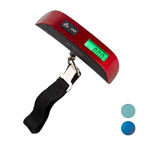 Relaxdays Digitale Kofferwaage, 50 kg, Reisen, mit Haken, Temperaturanzeige & Tara-Funktion, Gepäckwaage, rot, H x B x T: ca. 19 x 13 x 3 cm