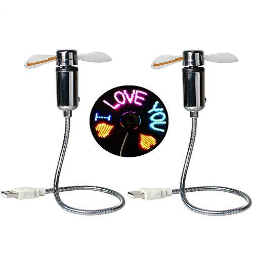 Kbinter Mini USB Fan,New RGB LED Programmable Fan for PC Laptop Notebook Desktops Creative Flexible Gooseneck Colorful DIY Message Cooling Fan (2 Pack)