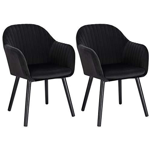 WOLTU Esszimmerstühle BH259sz-2 2er Set Küchenstuhl Wohnzimmerstuhl Polsterstuhl Design Stuhl mit Armlehne, Sitzfläche aus Samt, Gestell aus Massivholz, Schwarze Beine, Schwarz