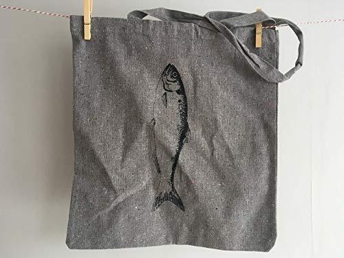 Einkaufstasche mit Hering aus recycelter Baumwolle mit Siebdruck per Hand bedruckt, Recyclingtasche