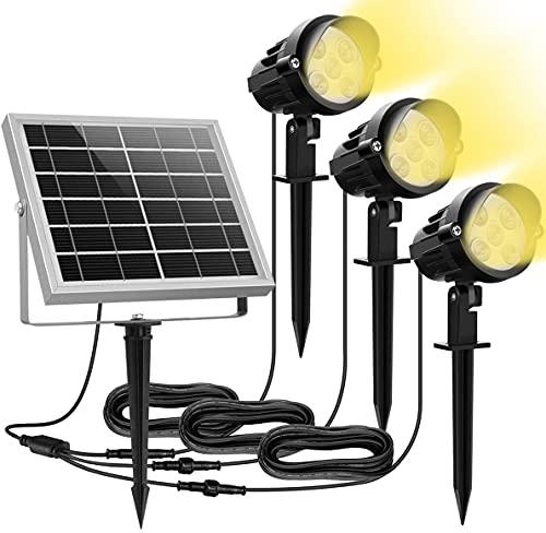 MEIKEE 15 LED Faretti Solari, Impermeabile IP66 LED Faretto per Giardino, Regolabile Lampade Solari LED da Esterno, Faretto Solare per Giardino, Backyards, Prato, Parete, Luce Calda, 3 Pezzi