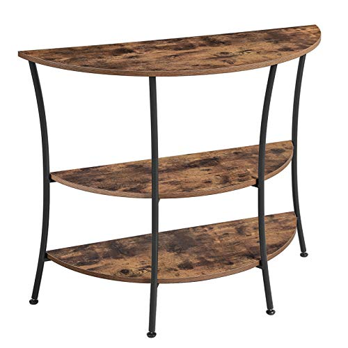 VASAGLE console tafel, dressoir met 3 planken, bijzettafel, halfrond, woonkamer, gang, slaapkamer, eenvoudige constructie, metaal, industrieel ontwerp, vintage, donkerbruin LNT87BX