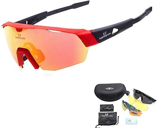 TOPTETN Gafas Ciclismo Polarizadas Gafas de Sol Deportivas con 3 Lentes Intercambiables UV400 Gafas para Hombres Mujeres Deportes Pesca Esquí Conducción Golf Correr Ciclismo Gafas de Sol (Rosado)