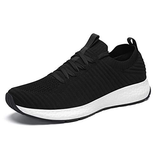 AFFINEST Hombre Sneaker Zapatillas de Deporte Running Zapatos para Correr Gimnasio Deportivas Padel Transpirables Casual Calzado Unisex Negro 43
