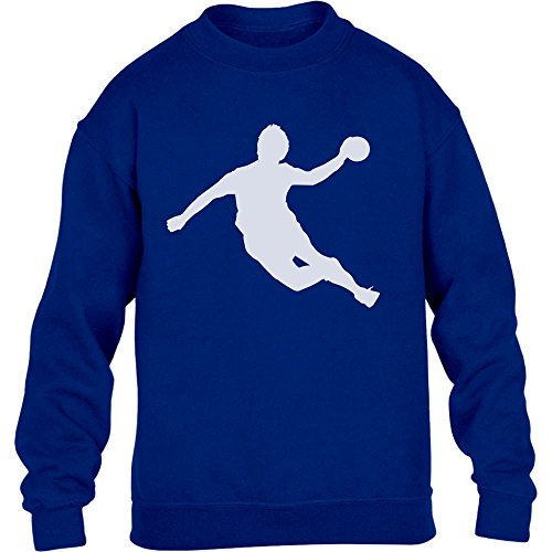 Handball Spieler in Action Silhuetten Fan Geschenk Kinder Pullover Sweatshirt XL 152/164 Blau