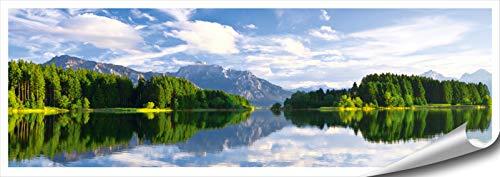ARTBAY Berge Wald See Poster XXL, Panorama Kunstdruck - 118,8 x 42 cm, Forggensee bei Neuschwanstein, Füssen, Bayern, Deutschland, Alpen, König Ludwig II, | Wandposter | Fotoposter | Wandgestaltung