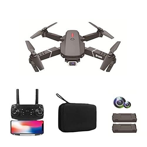 JJDSN Drone, Aereo telecomandato Pieghevole a Quattro Assi ad Alta Definizione a Doppia Fotocamera 4K, Batteria a Lunga Durata, Compatto e Portatile, Adatto per Principianti, Doppia Batteria Nero