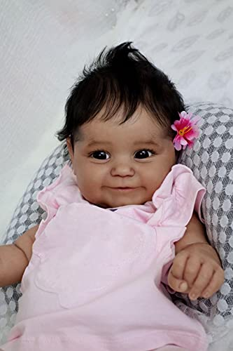 Anano Reborn Girl Dolls Eyes Open Black 20 Inch Reborn Baby Doll Real Life Smiling Reborn Dolls Soft Silicone Cloth Body Newborn Babe Doll for Kids 3+