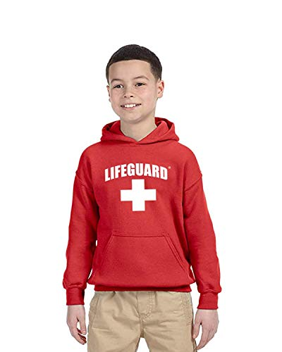 Officially Licensed LIFEGUARD First Quality Youth Kids Hooded Pullover Sweatshirt with Hood (S (7/8)) Red