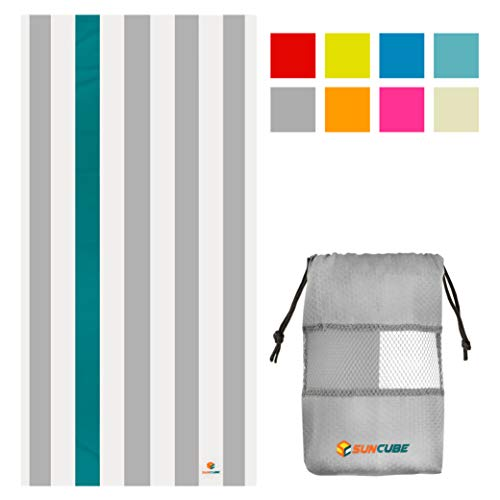 SUN CUBE Microfiber Beach Towel | Sand Free Towel, Lightweight, Quick Dry, Compact Swim Towel for Adults | Packable Easy to Carry Towel for Beach, Pool, Camping, Travel (Light Grey, 78x35 Inches)