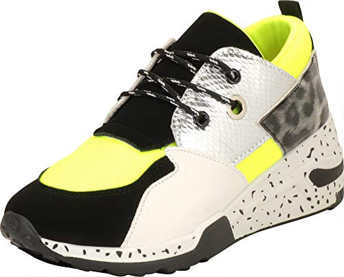 Cambridge Select Women's Ugly Dad Retro 90s Colorblock Lace-Up Chunky Wedge Fashion Sneaker,7.5,Neon Green