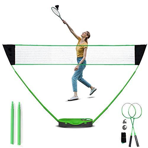 Ibnotuiy Tragbares Badminton-Netz-Set für Kinder und Erwachsene, einfache Einrichtung, Badminton-Set mit Aufbewahrungsbox, Basis mit 2 Badmintonschlägern, 2 Federbällen für Hinterhöfe, Outdoor, grün