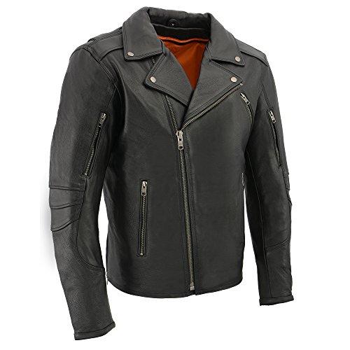 Milwaukee Men's Vented Updated Motorcycle Jacket (Black, Large)