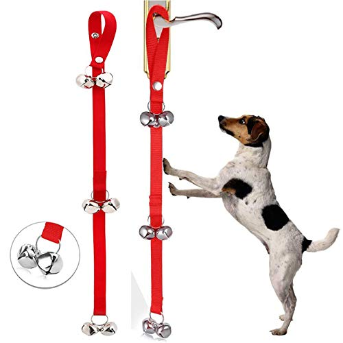 VIKEDI Hund Trainingsglocke, 2 Stück Welpenglocken Hundetorbells für Türknauf/Töpfchentraining/Gehen Sie nach draußen, Hundeglocken für Töpfchentraining Ihr Welpe (Rot)