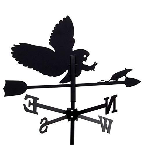 SvenskaV Wetterfahne 43cm Metall Schwarz Motiv Eule Klein Wetterhahn Windfahne Windrose