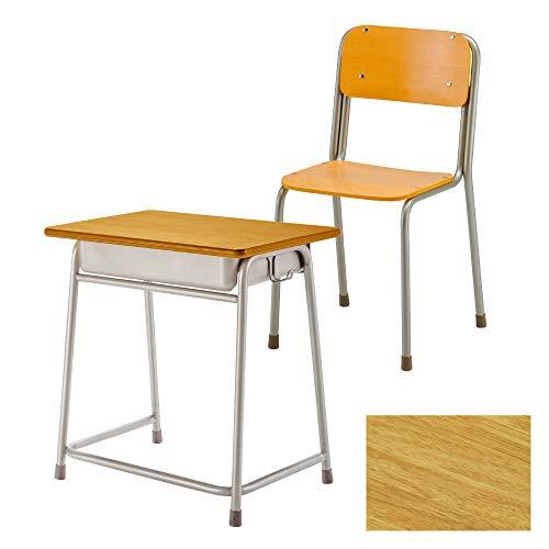 完成品 ホウトク 学習机 椅子 セット 59-G2-D-BK12-S3 (ラバーウッド集成材柄BK120, 旧JIS1号)