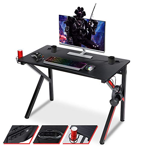 """SUPER DEAL Gaming Desk 45"""" W x 23"""" D x 30"""" H Home Office Computer Desk w/Power Outlet, Free Red and Blue Stickers, Cup Holder, Headphone Hook, Black"""