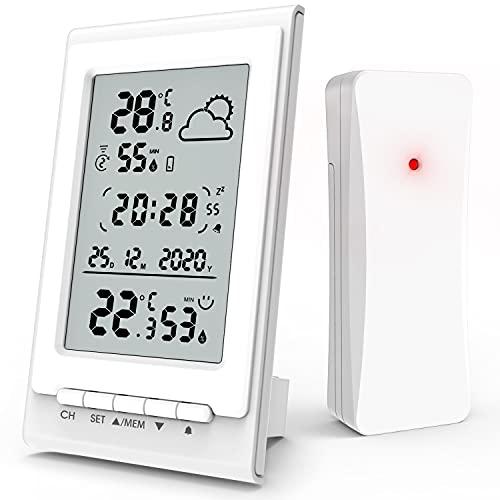 Estación Meteorológica con Sensor de Radio Interior Exterior, Higrómetro Termómetro Digital con Temperatura Humedad,...