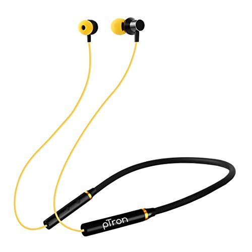 pTron Tangentbeat Bluetooth 5.0 Wireless Headphones with Deep Bass, Ergonomic, IPX4 Sweat/Waterproof Neckband, Magnetic Earbuds, Voice Assistant, Passive Noise Cancelation & Mic - (Black & Yellow)