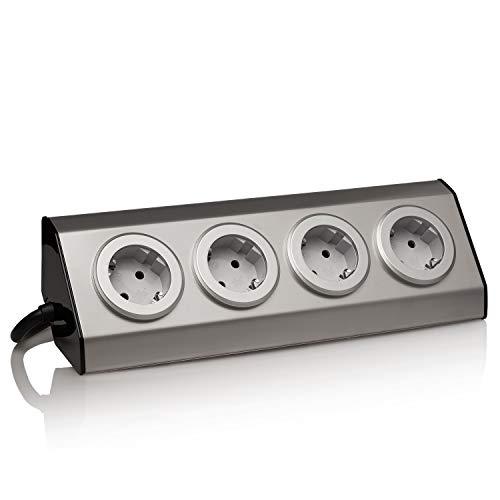 Edelstahl Eck-Steckdose, silber, Schuko, USB, für Küche, Büro. Steckdosenleiste 45° Aufbau-Montage ideal für Arbeitsplatte, selbstklebend, Edelstahl:4x + 1.5m Kabel