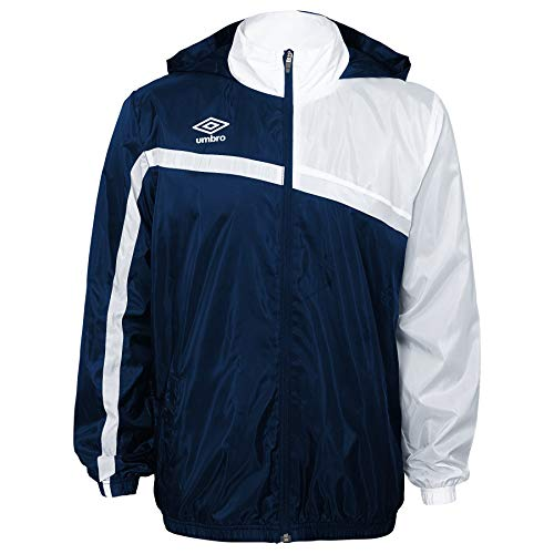 UMBRO Unisex-Erwachsene Woven Waterproof Jacket Regenjacke, Marineblau/weiß, Large
