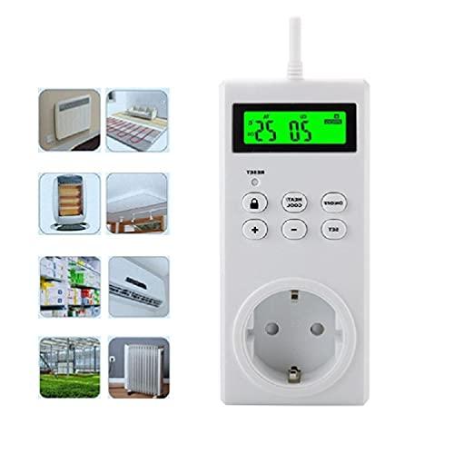 Controlador TS-3000 con enchufe de temperatura con pantalla digital LCD, datos técnicos de diferentes países, timbre de puerta inalámbrico
