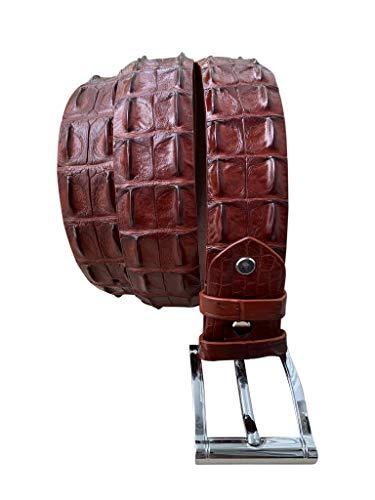 Cinturón de piel de cocodrilo genuino para hombre, color sepia, diseño vintage de 4 cm de ancho