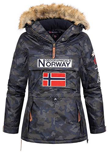 Geographical Norway - Chaqueta de invierno para mujer con capucha de piel sintética Chaqueta de esquí camuflaje Negro M