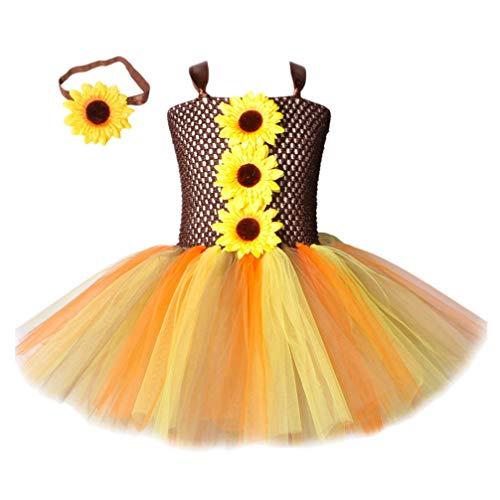 KESYOO Falda de Tutú de Girasol para Niñas con Ropa de Cabeza de Girasol Vestido de Princesa de Verano para Niñas Disfraz de Fiesta de Halloween para Niñas Cosplay de Fiesta Elegante