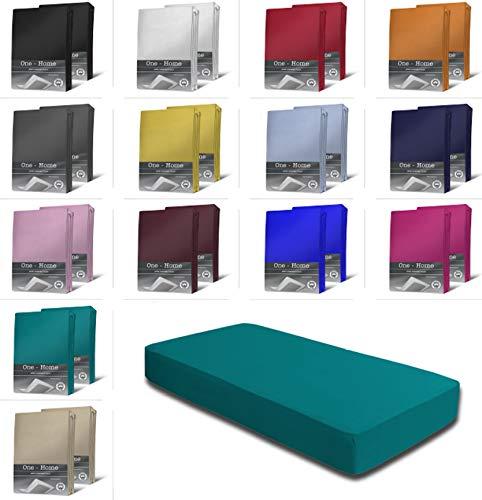 one-home 2er Set Jersey Spannbettlaken Spannbetttuch weiche Baumwolle mit Rundumgummizug, Farbe: Petrol, Maße: 2er Pack 90-100 x 200 cm