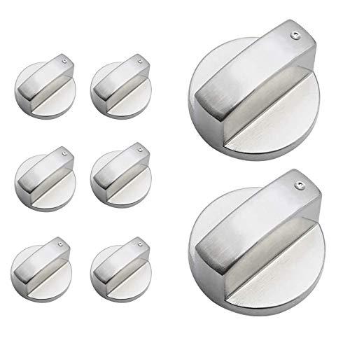 Adaptadores de Perillas de Control, 8 Piezas Adaptadores para Interruptor de Horno 6mm Botones Universal de Interruptor de la Cocina de Gas para Marcas de Horno, Cocina y Placa de Cocina,Plata